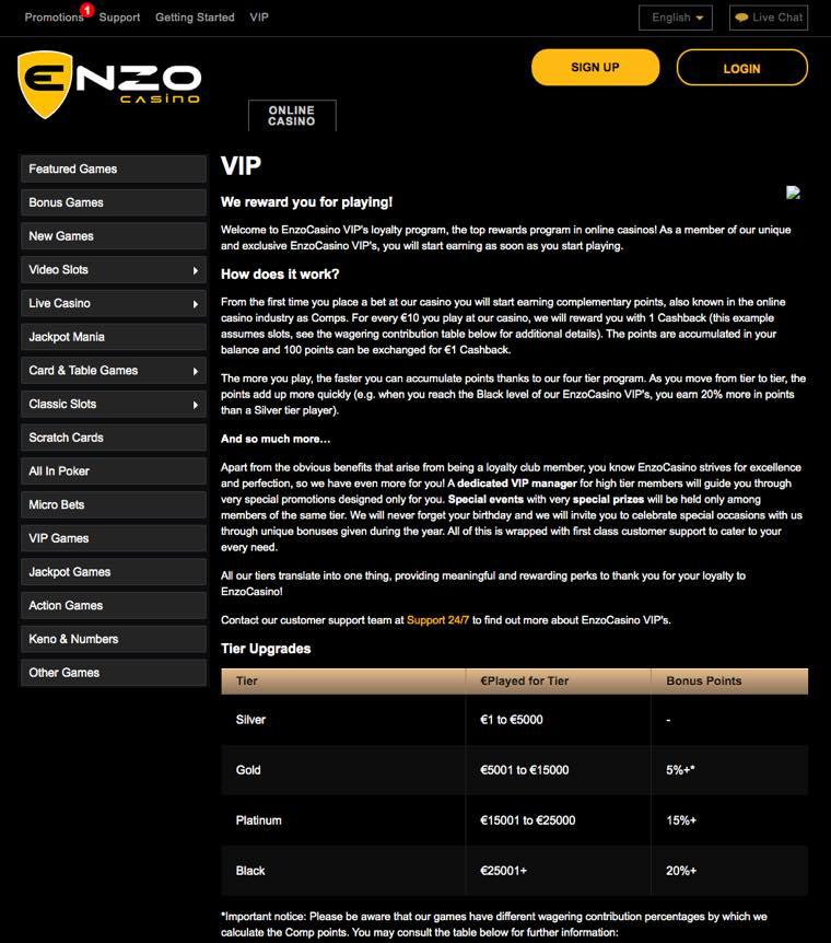 Enzo Casino - Vip club