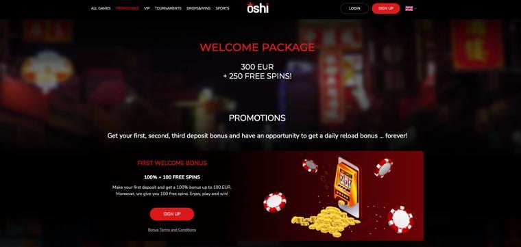 Oshi Casino - Velkomstbonus